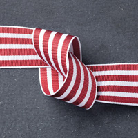 "Cherry Cobbler 1-1/4"" Striped Grosgrain Ribbon"
