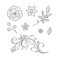Falling Flowers Wood Mount Stamp Set