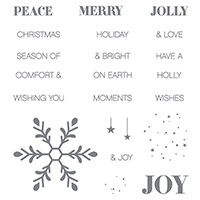 Holly Jolly Greetings Wood-Mount Stamp Set by Stampin' Up!
