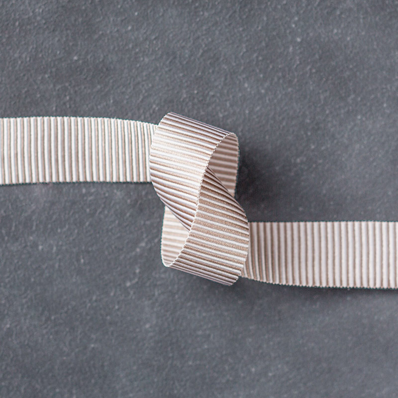 "Tip Top Taupe 5/8"" Mini Striped Ribbon"