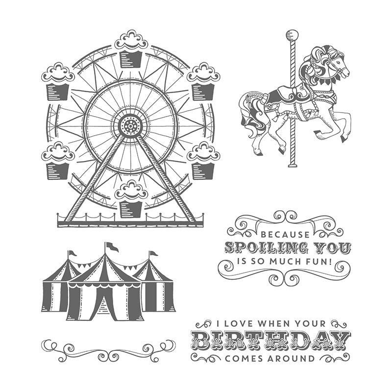 Carousel Birthday Clear-Mount Stamp Set
