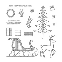 Traîneau de Noël Clear-Mount Stamp Set (French)