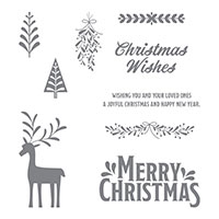 Merry Mistletoe Wood-Mount Stamp Set
