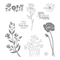 Flirty Flowers Wood-Mount Stamp Set