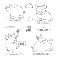 This Little Piggy Wood-Mount Stamp Set