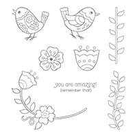 Feathery Friends Wood-Mount Stamp Set