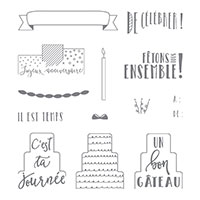 C'est la fête Clear-Mount Stamp Set (French)