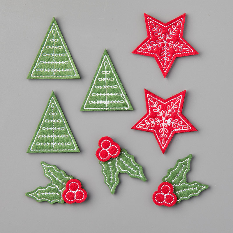 Christmas Card Stitched Felt Embellishments - order at LovenStamps