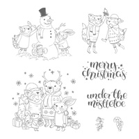 Mistletoe Friends Wood-Mount Stamp Set
