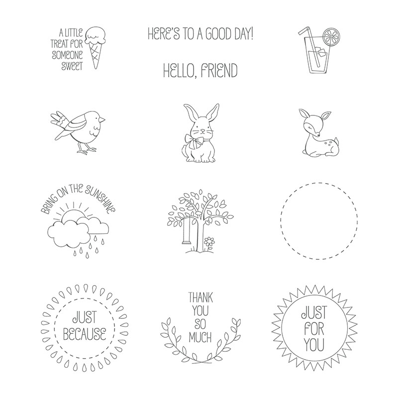 A Good Day Wood-Mount Stamp Set